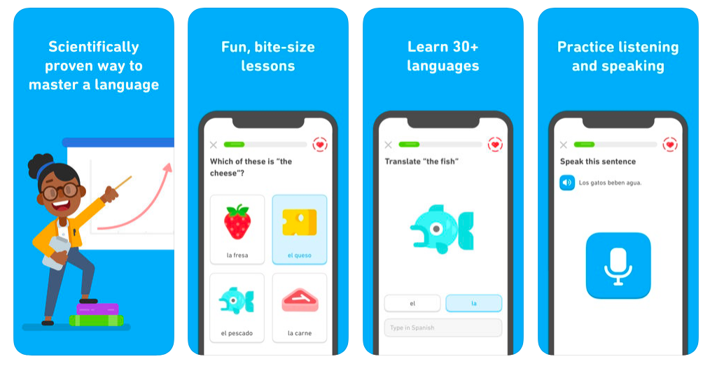 Screenshots of Duolingo one of the best backpacking apps