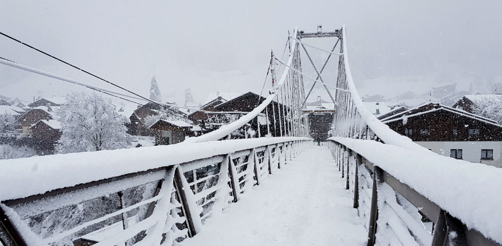 Franois Baud Footbridge in Morzine covered in snow