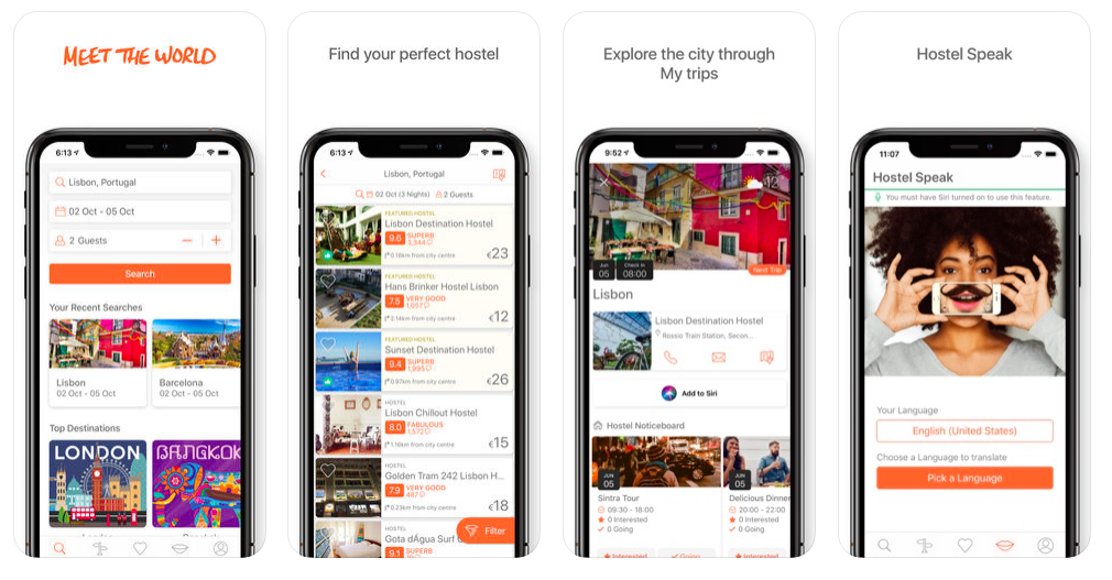Phone screens showing backpacers app Hostelworld