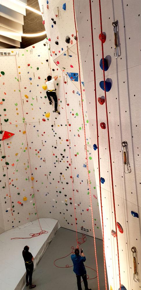 CampZero Hotel climbing wall in Champoluc