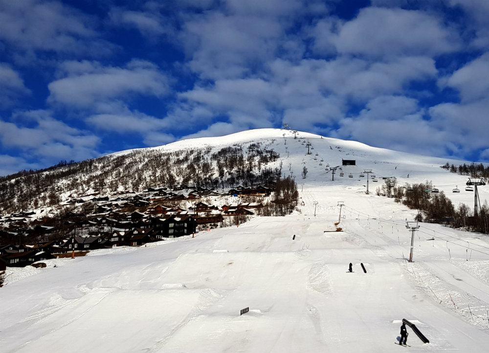View of snowpark from my room during rf Myrkdalen snowboarding holiday in Norway
