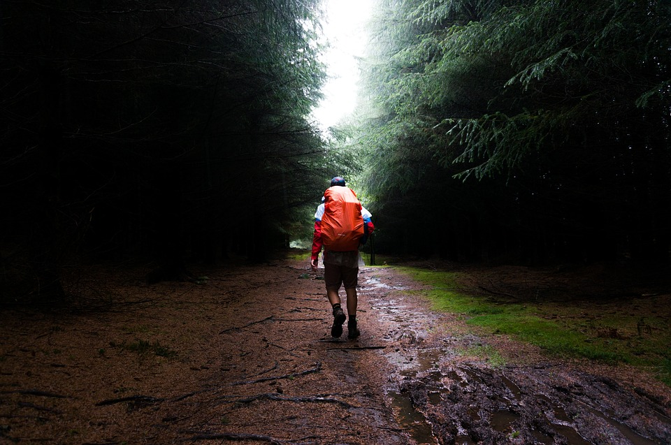Bin bags vs pack liner for trekking: Keeping gear dry in a backpack hiking in the rain Pixabay royalty free image
