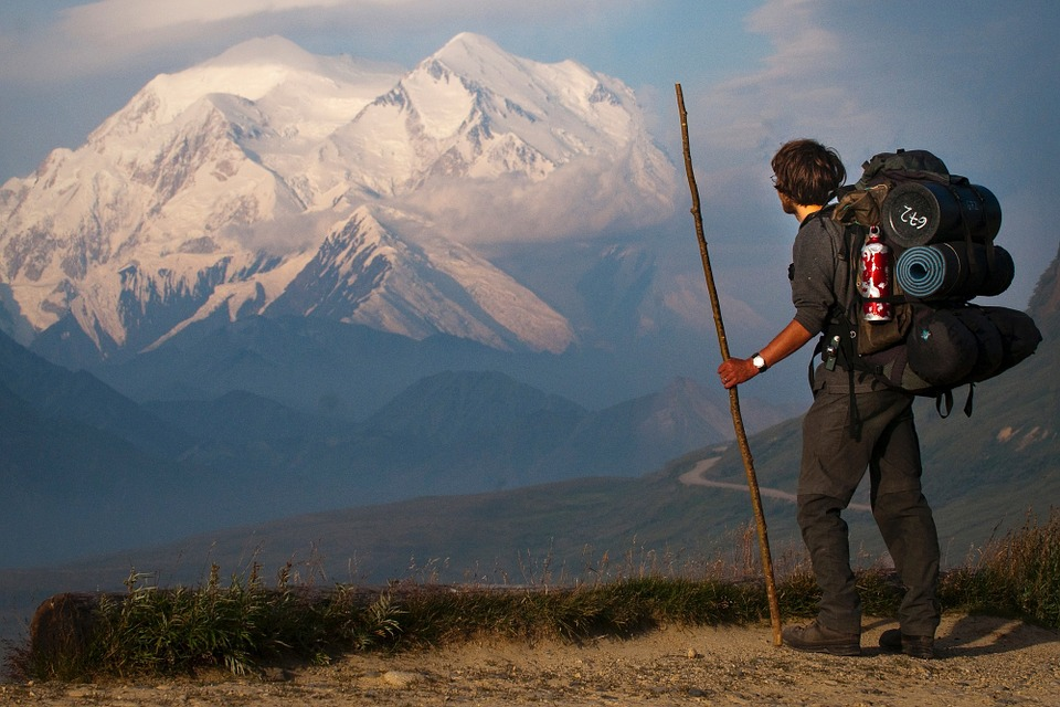 trekking with view of Denali (mount mckinley) in Alaska, USA Pixabay royalty free image