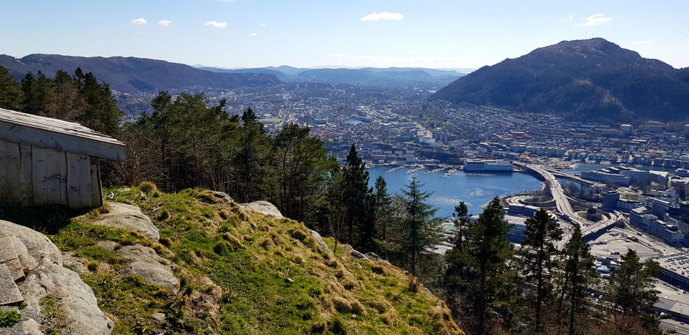 Bergen from Floyen Mountain during review of Freeride the Fjords in Norway