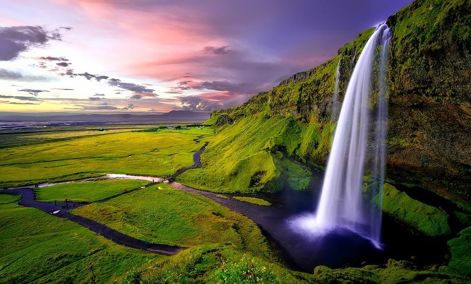 Iceland Water Seljalandsfoss Cliff Waterfall Falls