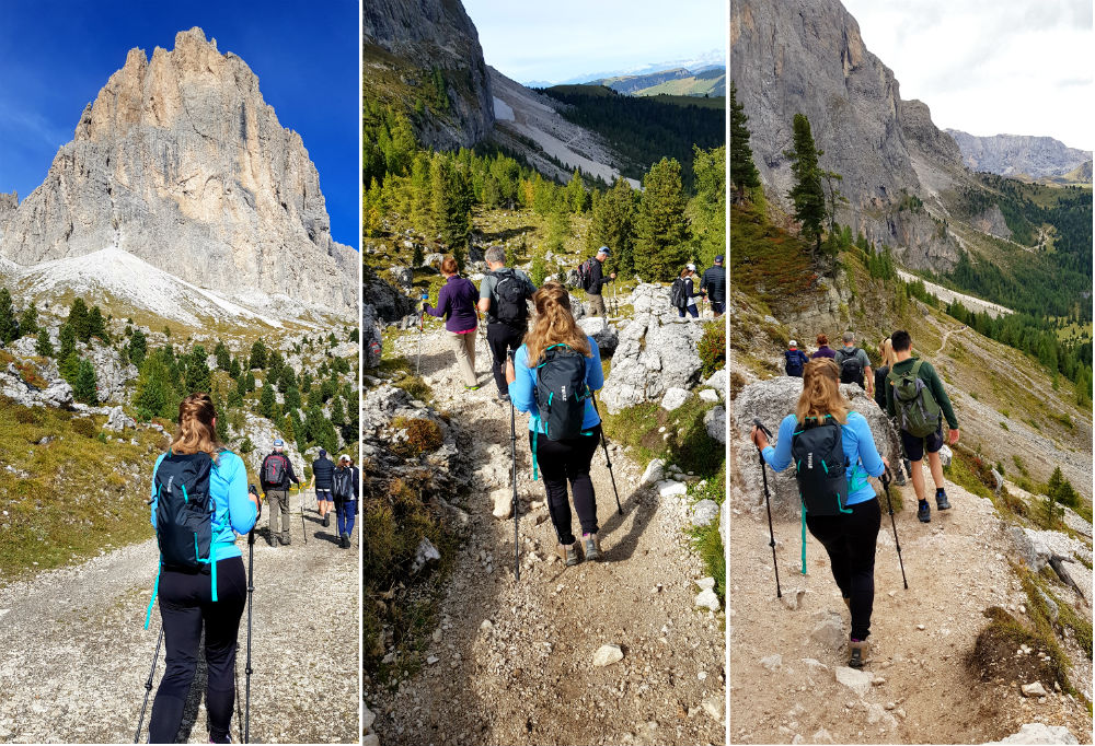 Lightweight daypack for hiking in adler group around Sassa Longo in Dolomites Val Gardena Ortisei Italy