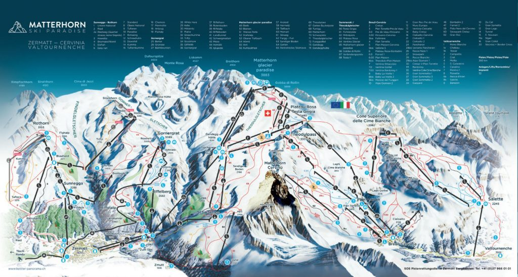 Review of Cervinia snowboarding holiday in Matterhorn Ski Paradise - piste map