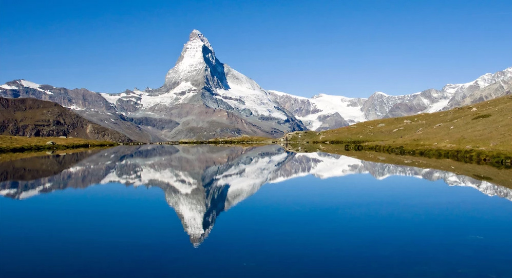 Matterhorn during Walkers haute route on Alps trekking holiday image courtesy of Cloud 9 Adventure