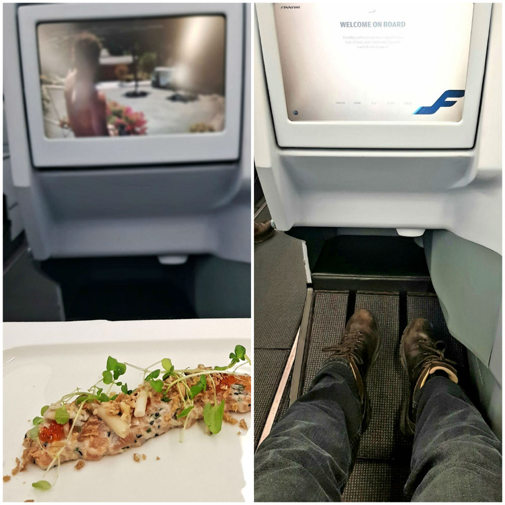 Review of Finnair Helsinki to Sapporo flight - food screen and legroom