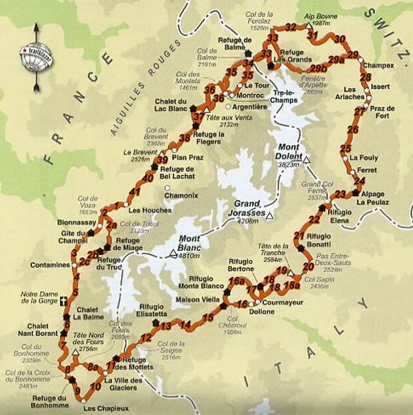 Tour du Mont Blanc route image courtesy of Cloud 9 Adventure