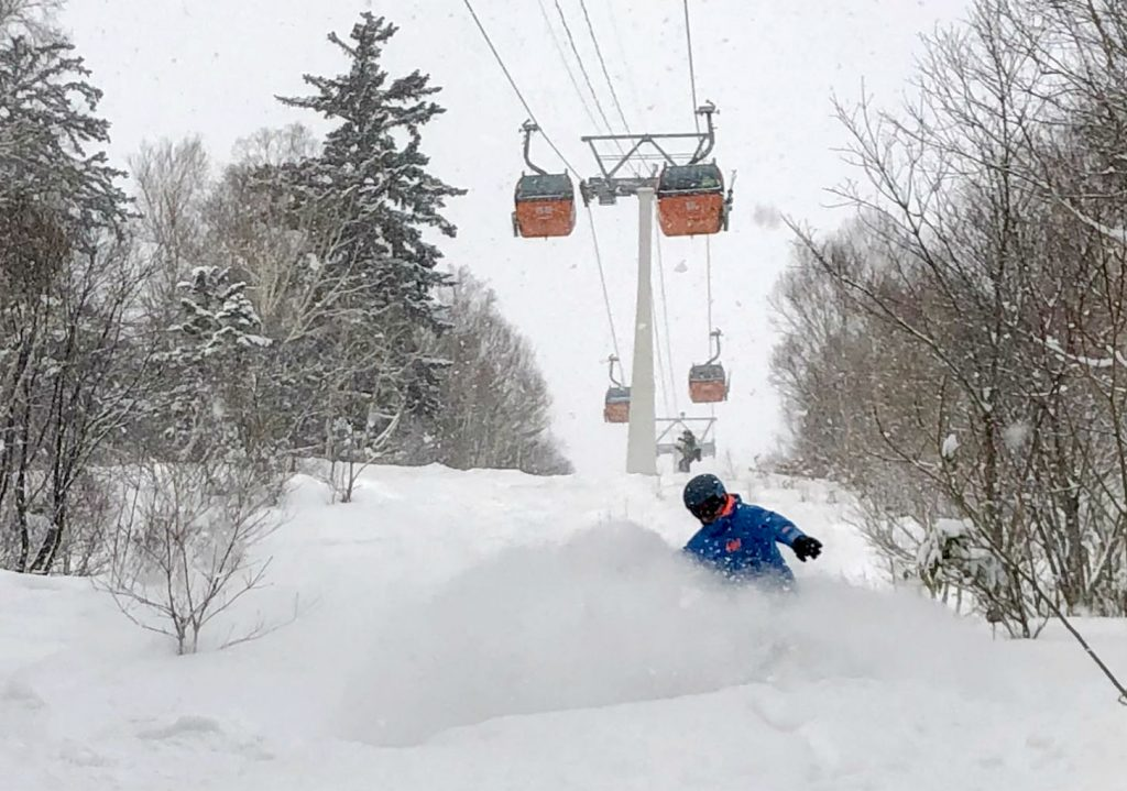 snowboarding off-piste in Sapporo Kokusai Japan Photo by Seb Ramsay