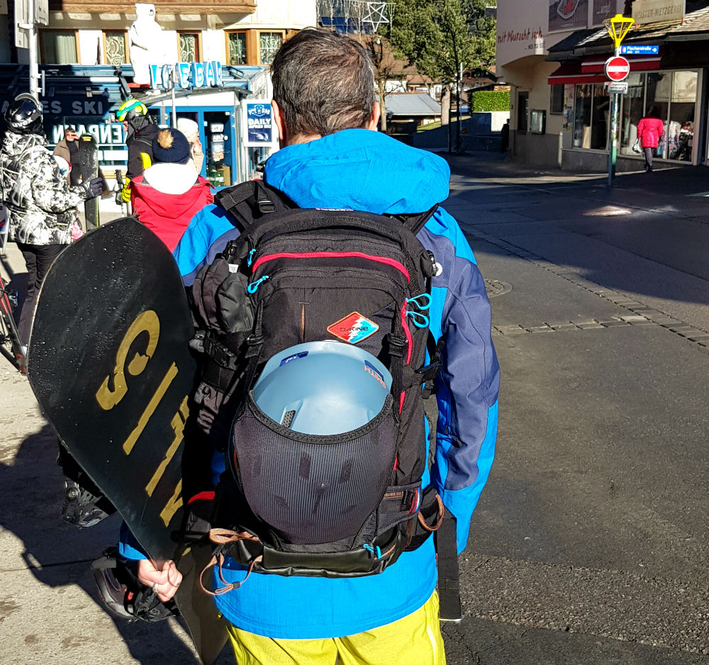 Dakine Team Poacher 26L review Avalanche airbag compatible backpack helmet carry