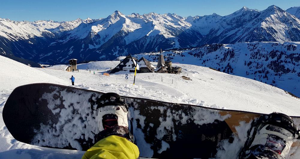 Snowboarder self portrait on Mayrhofen Snowboarding holiday view of Schneekarhutte