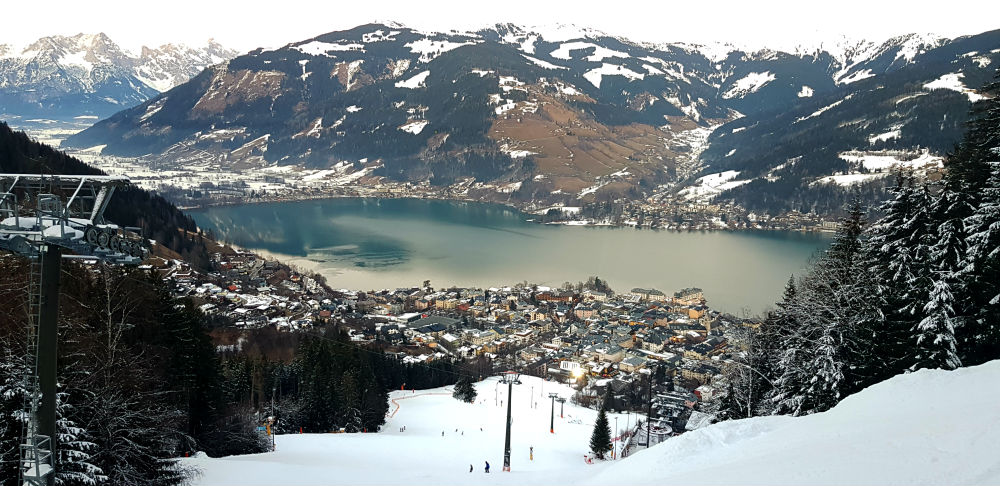 Zell lake and piste down towards Zell am See