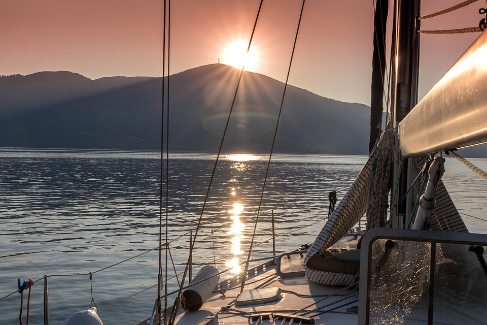 top tips for yacht hire sunrise sailing Kefalonia, Greece Royalty free image by Pixabay
