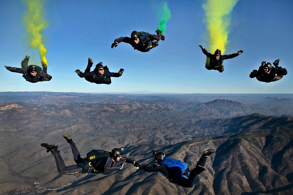 Jump ticket skydive costs How expensive is skydiving as a hobby Pixabay royalty free image of skydiving in California