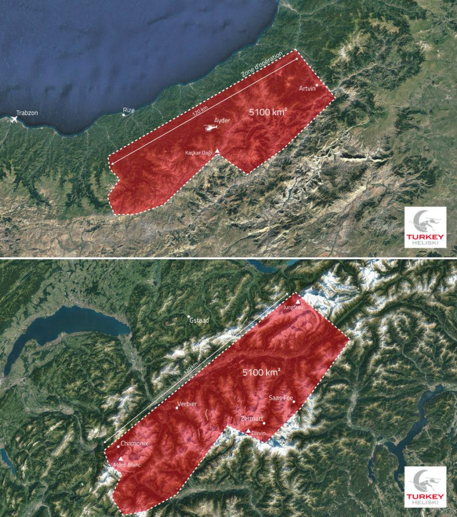 Map of Turkey Heliski range compared to same area in Alps