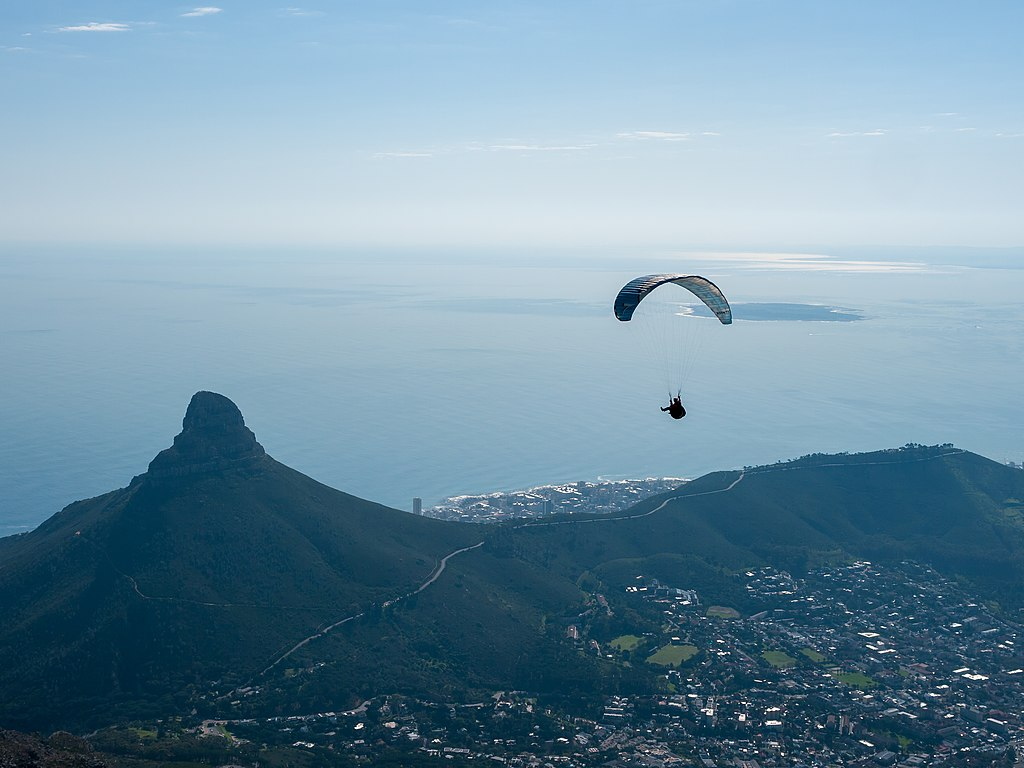 Paragliding in Cape Town one of the best african adventures Wikimedia CC image by Matti Blume