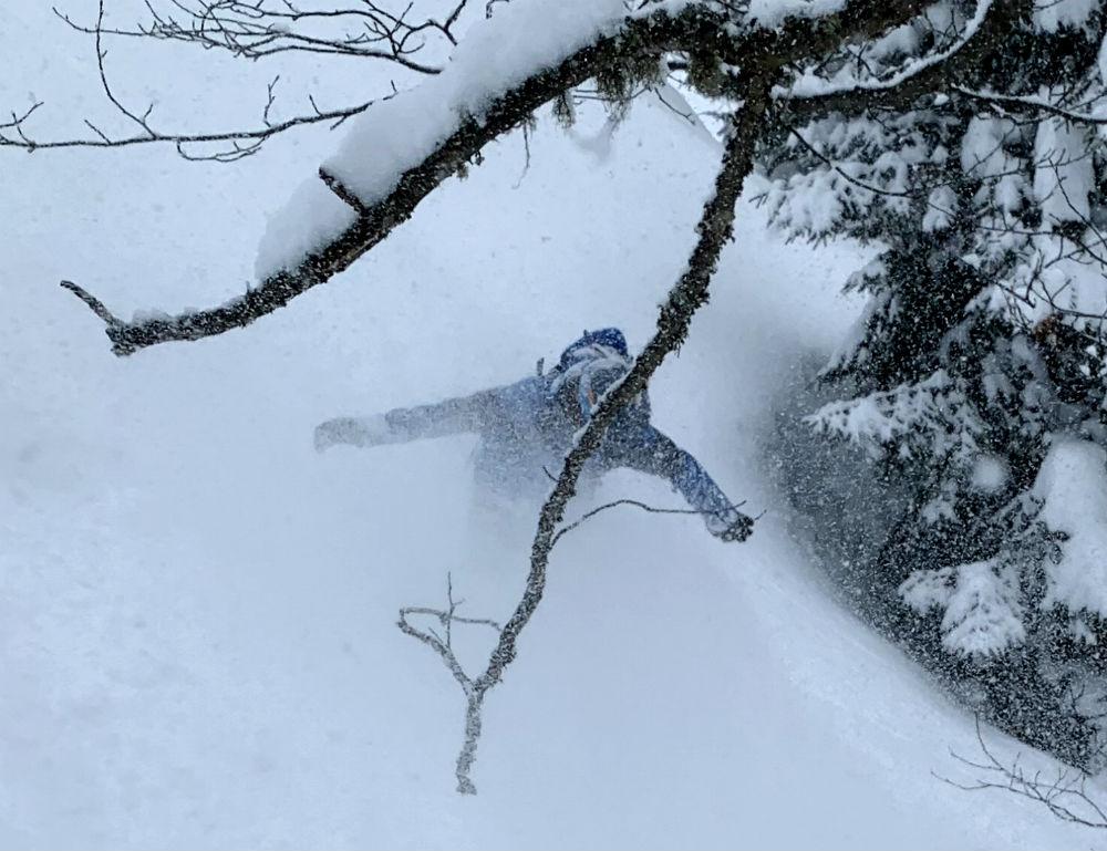 Tree snowboarding in Turkey Kackar Mountains Photo By Sebastien Marcelin-Rice