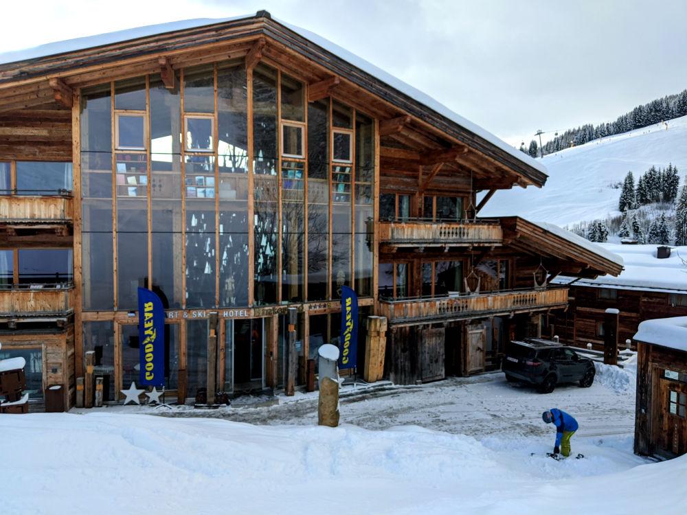 snowboarding to the door of Hotel Hinterhag in Saalbach