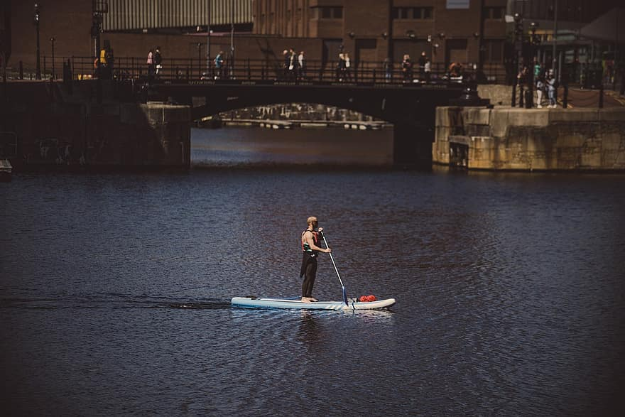 SUP in albert docks liverpool one of the best merseyside adventure sports Royalty free image from Piklist