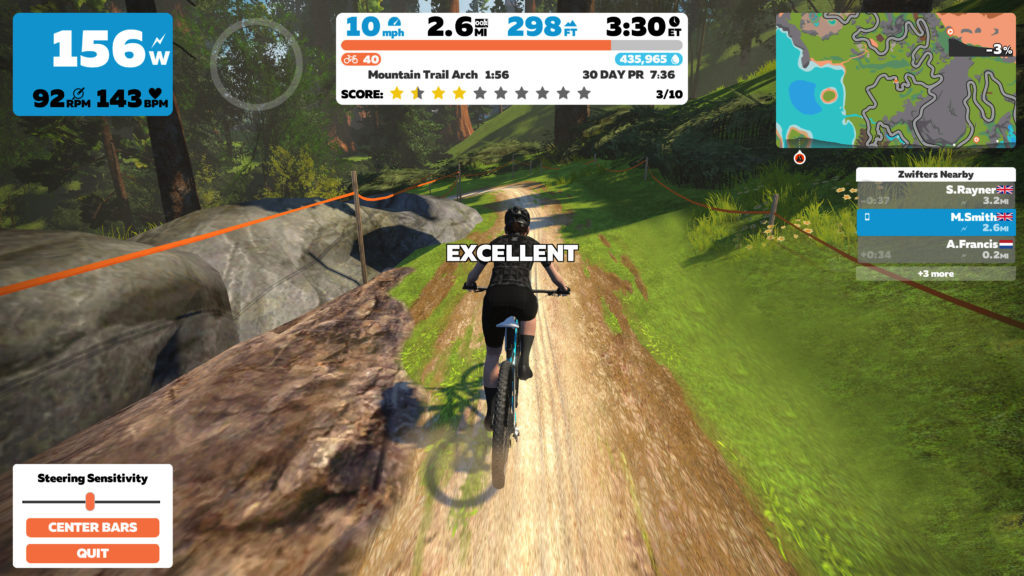 Cyclist on mountain bike in virtual race