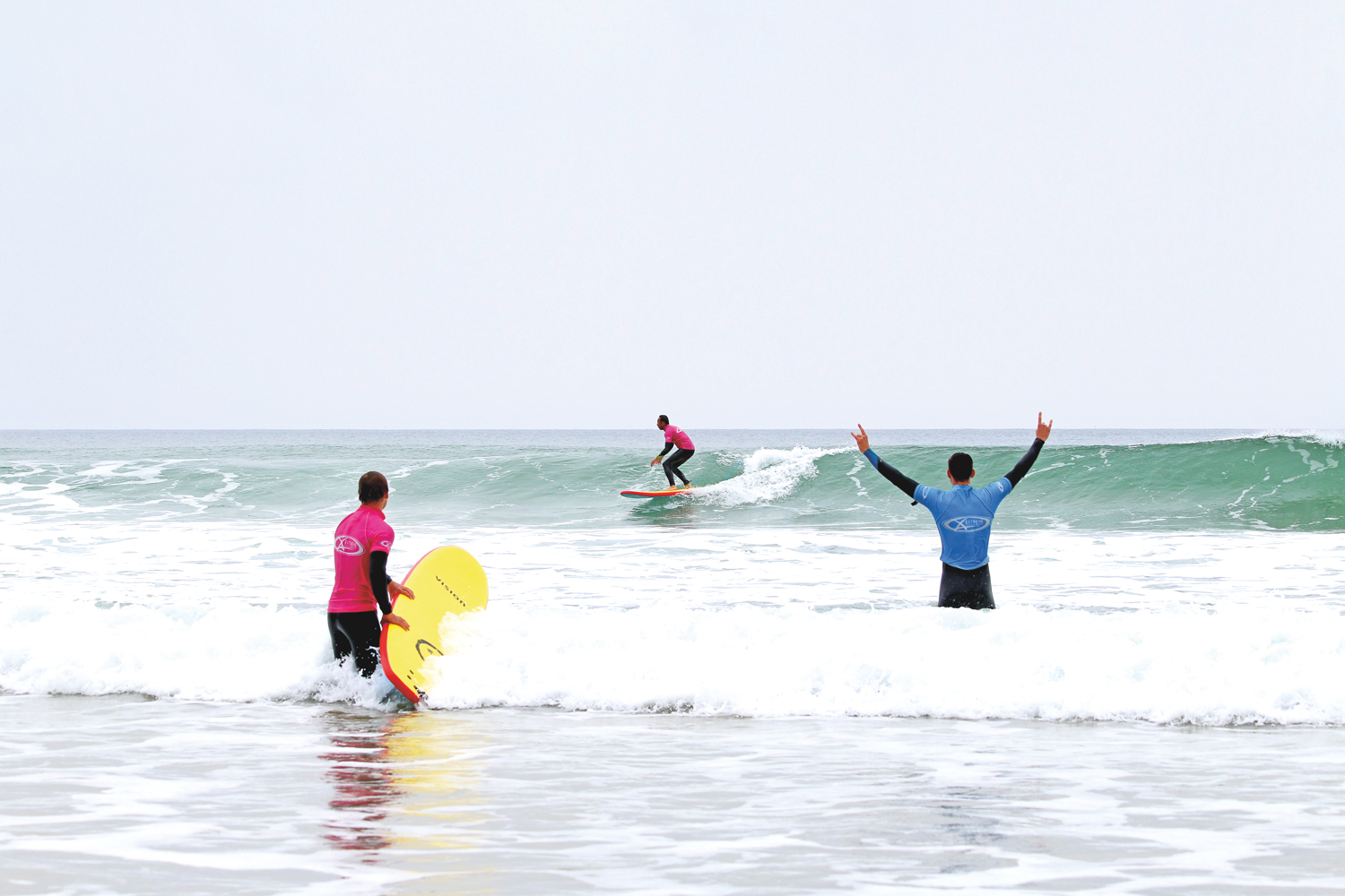 Improver surf lessons Newquay: Surfing at Watergate Bay Cornwall