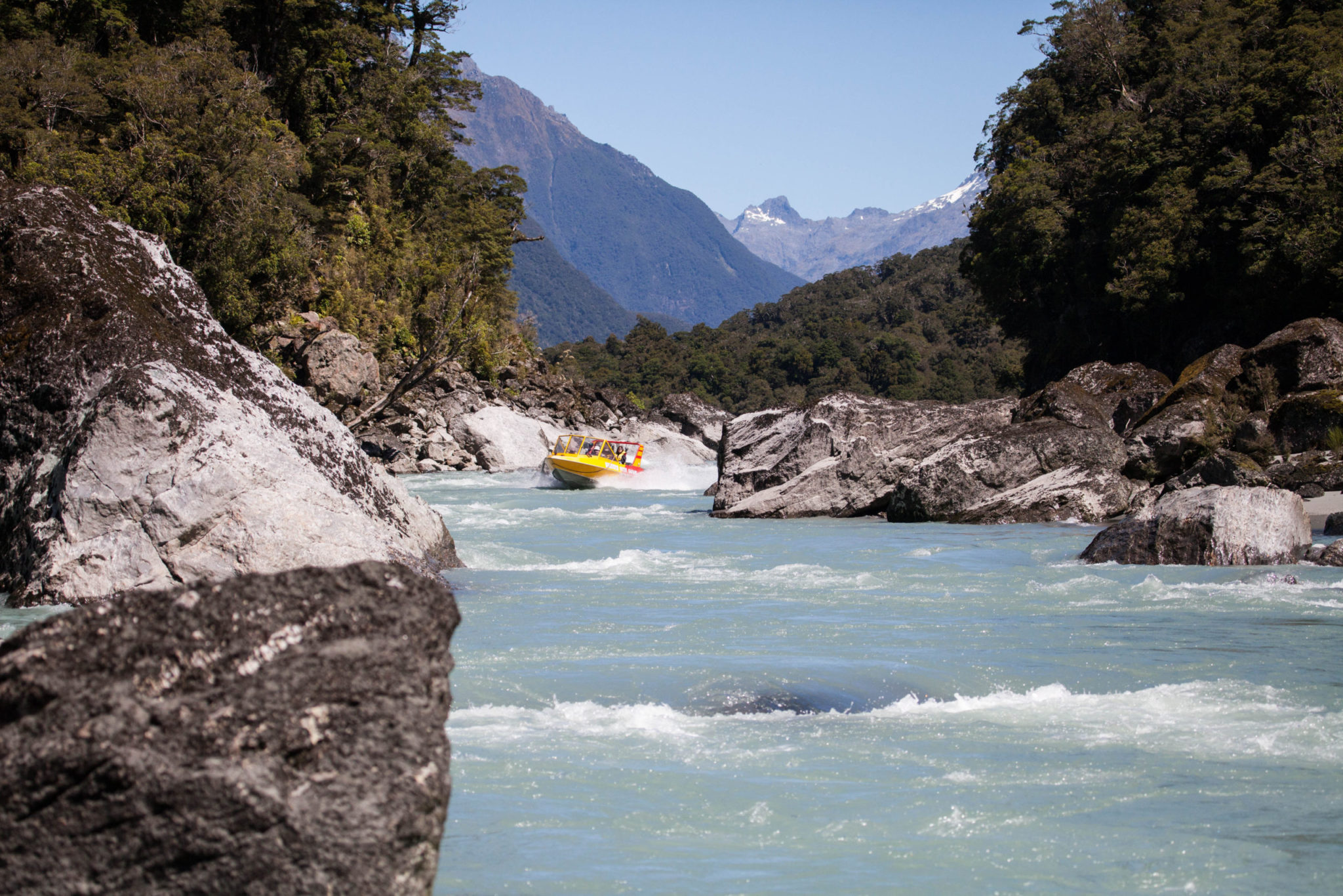 Waiatoto River jet boating experience in New Zealand