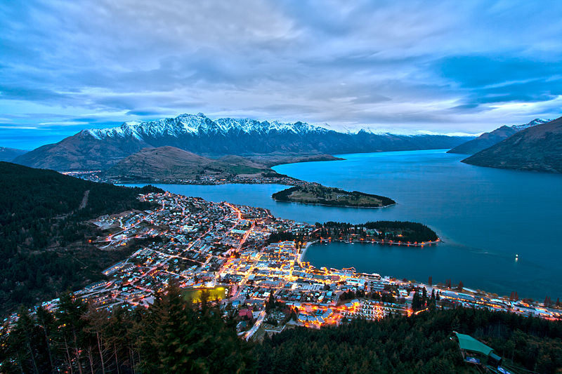 New Zealand adventure capital Queenstown from Bob's Peak Wikimedia CC image by Lawrence Murray