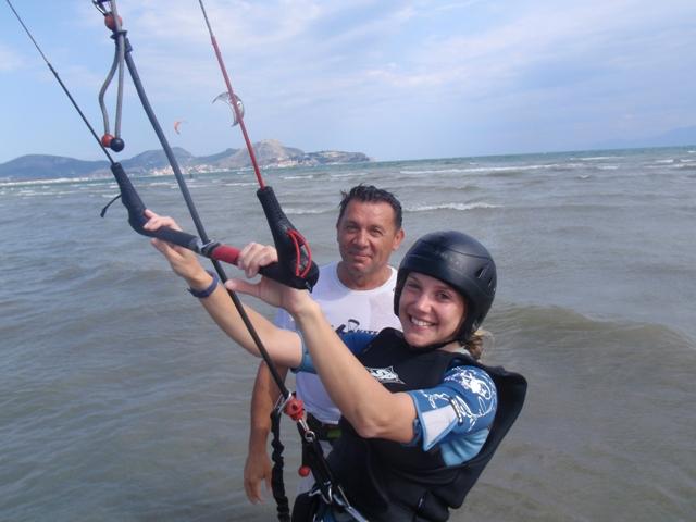 Greece beginner kitesurfing holiday in Nafplion near Athens