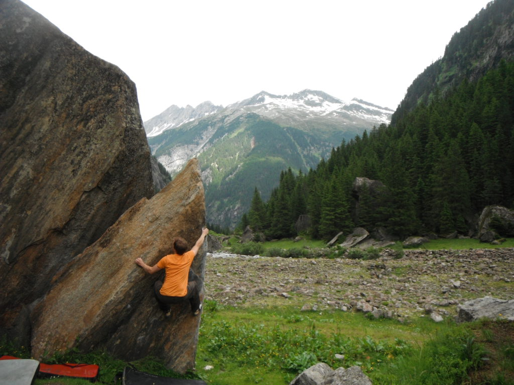 Fredrik Niva bouldering in Villertal, Austria Why try bouldering outdoors?
