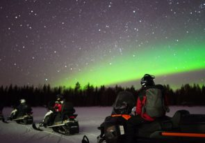 Arctic Northern Lights Snowmobile Hunt in Lapland