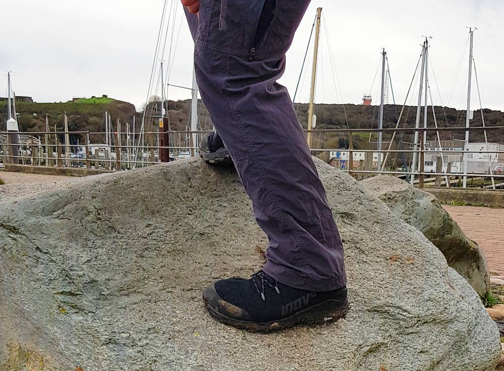 Testing grip of Lightweight Gore-Tex hiking boots by Inov-8