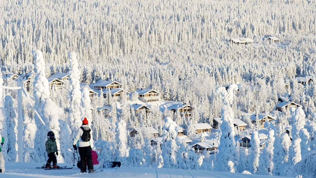 Arctic ice fishing and skiing day trip in Lapland, Finland