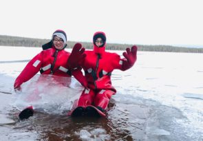 Arctic Ice Fishing and Floating in Lapland