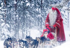 Lapland Rovaniemi Santa Claus experience by Sleigh in the local reindeer and husky farms
