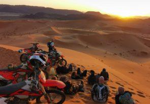 BR19 sunset at Ouzina on 7 day Morocco off-road motorbiking Sahara Desert tour