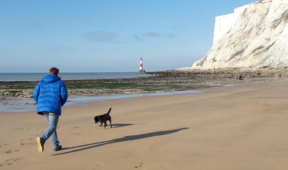 Helly Hansen Verglas Icefall review Lightweight down insulator jacket at beachy head, Sussex