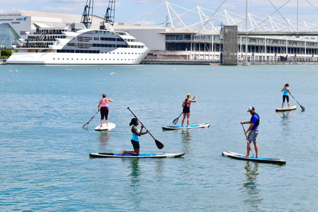 SUP one of the best active adventures in London image courtesy of Wake Up Docklands