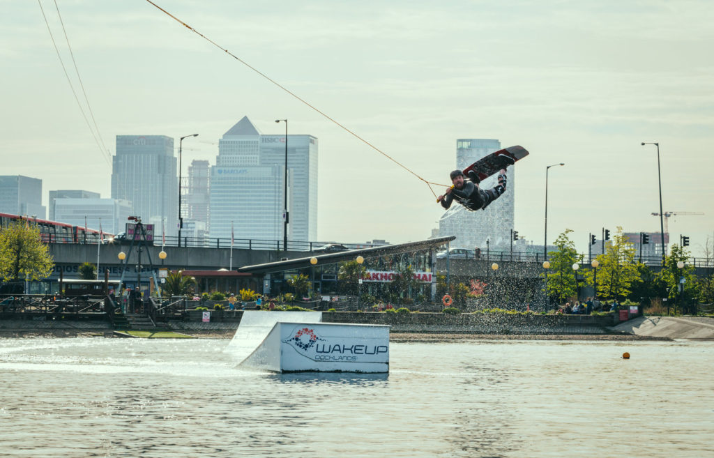 Wakeboarding in London one of the Top 21 capital city adventures in England Image courtesy of Wake Up docklands