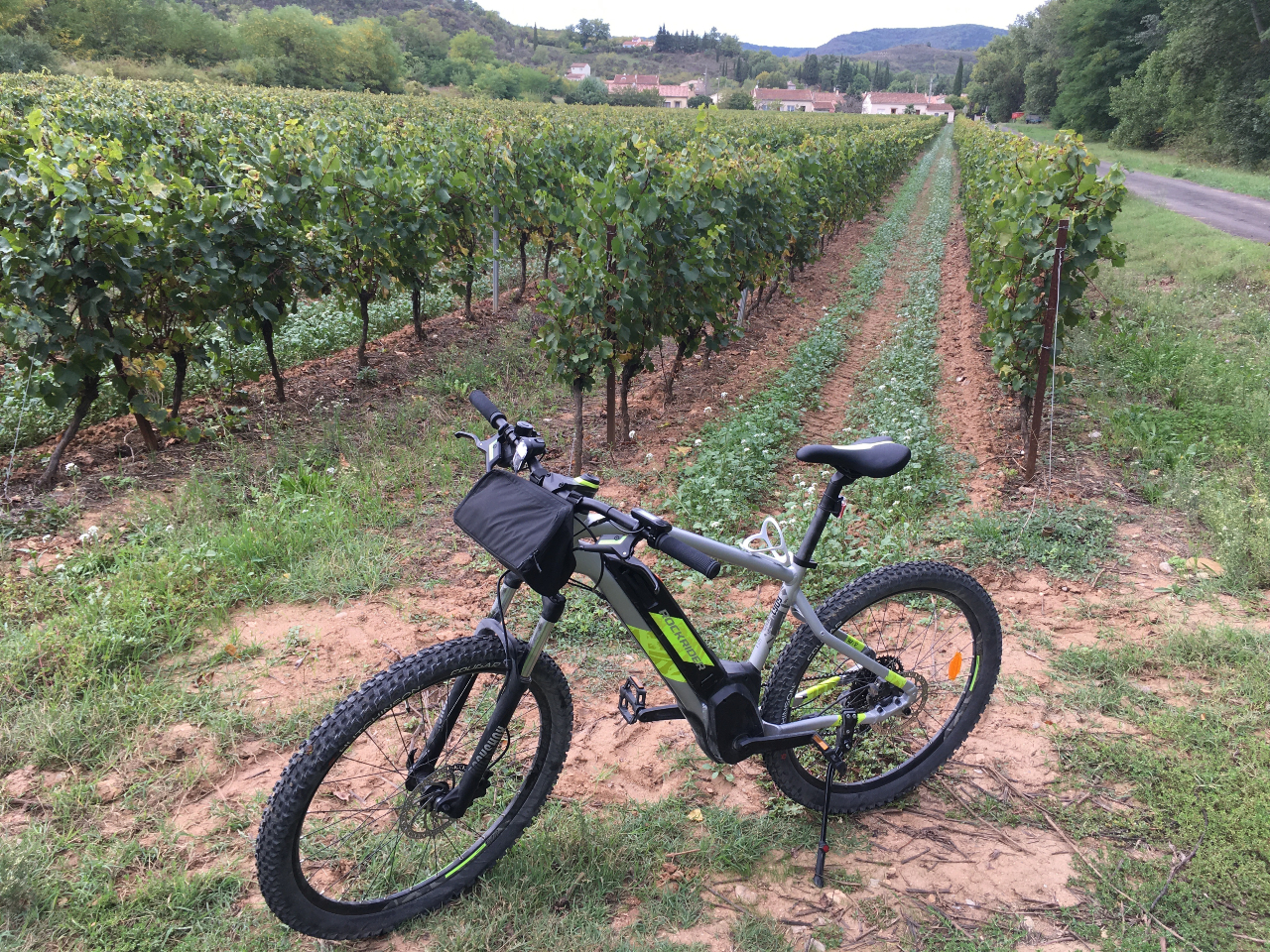 Rockrider ebike from Decathlon in vineyard in Aude France