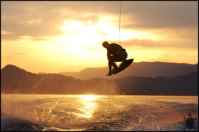 Wakeboarding in Winter sunset